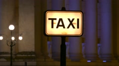 4K FHD Taxi sign Verona Piazza Bra at night Italy Veneto Stock Footage