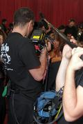NEW YORK - NOVEMBER 10: Victoria's Secret video camera crew shoots backstage - stock photo