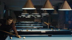 Man is Playing In Billiard. Stock Footage