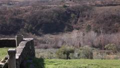 Pan on a countryside panorama near the sea - stock footage