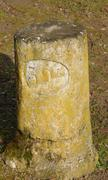 France, an old kilometre marker in the country Stock Photos