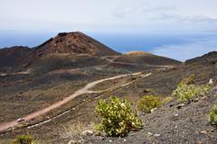 Road through volcanic landscape at  La Palma Stock Photos