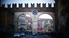 Verona Porta Bra Gate City Gate entrance at Piazza Bra Italy Veneto Stock Footage