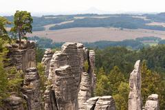Geological landscape in Boheminan Paradise of Czech Republic Stock Photos
