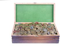 Money chest with lots of european coins Stock Photos
