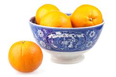 Oranges in a ancient hand-painted bowl - stock photo