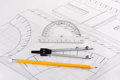Building plan of a civil construction - stock photo