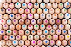 Front view of many colored wooden pencils Stock Photos