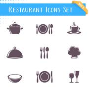 Restaurant icons collection - stock illustration