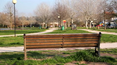 Empty bench seats at park Stock Footage