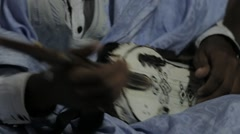 Close Up of Mauritanian Man playing Tidinit Stock Footage