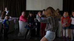 Dancing teenager kid girl performance in a club Stock Footage