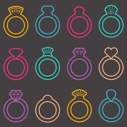 Stock Illustration of Wedding ring icons
