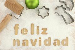 Feliz navidad baking preparation background - stock photo
