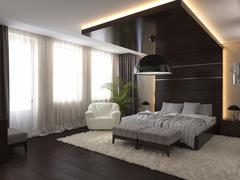 Bedroom in a private house in brown and beige colors - stock illustration
