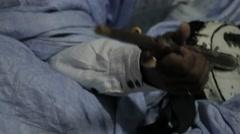 Mauritanian Muscian Playing the Tidinit Stock Footage