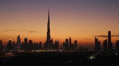 Dubai, elevated view of the new Dubai skyline & Burj Khalifa Stock Footage