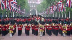 Trooping the Colour at Buckingham Palace Stock Footage