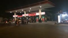 Taimelapse off gas station in Saigon night Stock Footage