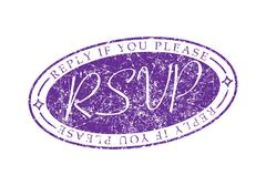 RSVP Reply if you please invite rubber stamp. - stock illustration