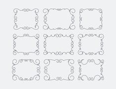 Set of 9 rich decorated calligraphic outlined stroke frames. - stock illustration
