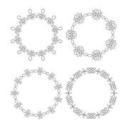 Set of 4 elegant outlined caligraphic round frames Stock Illustration