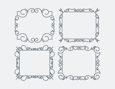 Set of 4 decorative calligraphic frames. Stock Illustration