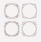 Set of 4 rich decorated calligraphic round frames. Stock Illustration