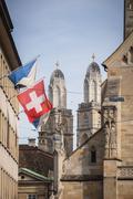 Zurich, Switzerland - The Grossmunster towers behind Fraumünste Stock Photos