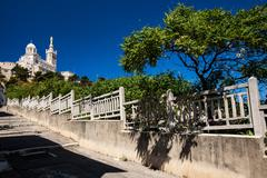 View of Notre-Dame de la Garde basilica in Marseille, southern F Stock Photos