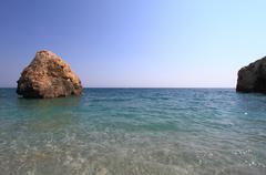 Beautiful beach in Greece at summer - stock photo
