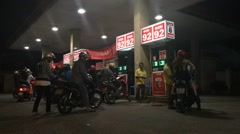 Taimelapse off gas station in Saigon night close up Stock Footage