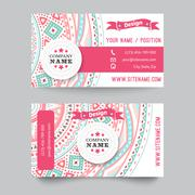 Business card template, blue, white and pink beauty fashion pattern - stock illustration