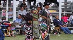 Girls jingle dance at a pow wow Stock Footage