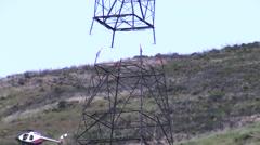 Sikorsky S-64 Skycrane 500Kv Tower construction Stock Footage