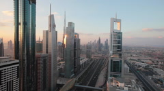 Dubai, Sheikh Zayed Rd, traffic and new high rise buildings Stock Footage