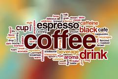 Coffee word cloud with abstract background Stock Illustration