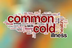 Commom cold word cloud with abstract background - stock illustration