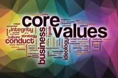 Core values word cloud with abstract background Stock Illustration