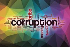 Corruption word cloud with abstract background Stock Illustration