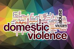 Domestic violence word cloud with abstract background - stock illustration