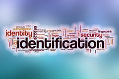 Identification word cloud with abstract background - stock illustration