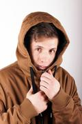 Boy with anorak - stock photo