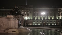 Buckingham Palace & Water Fountain at Night | HD 1080 Stock Footage