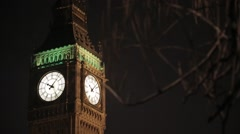 Big Ben/Elizabeth Tower at Night | HD 1080 Stock Footage