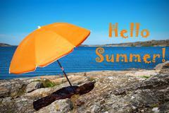 Swedish Coast With Hello Summer - stock photo