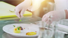 Professional Chef is Garnishing Luxury Dish with Leafs in Restaurant Stock Footage