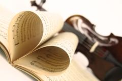 Violin and music sheet - stock photo