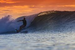 Stock Photo of Surfer on Amazing Wave