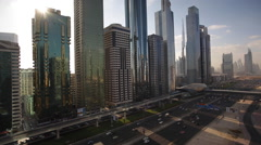 UAE - Dubai, Sheikh Zayed Rd, traffic and new high rise buildings Stock Footage